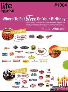 ♔ FREE BIRTHDAY DINING: WHERE TO EAT FREE ON YOUR BIRTHDAY https://www.pinterest.com/moonshooter1