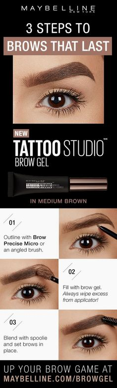 Tattoo Studio Waterproof Eyebrow Gel creates fuller-looking definition that last for days. Fill and color your eyebrows with this ultra-resistant and waterproof eyebrow gel. The sculpting tip and eyebrow spoolie brush work together to create fuller-lookin Tattoo Studio, Eyebrow Makeup, Hair Makeup, Eyebrow Brush, Decent Hairstyle, Facial, Waterproof Eyebrow, Brow Gel, Beauty