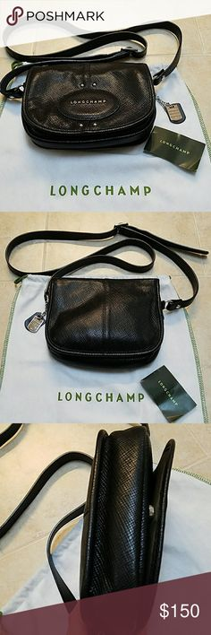 """Authentic Longchamp crossbody bag. All leather crossbody bag.  In great condition.  7""""L, 7""""H, 2""""W.  Come with original dustbag. Longchamp Bags Crossbody Bags"""