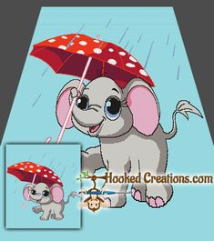 Rainy Day Elephant SC Full Sized Blanket Crochet Pattern - PDF Download