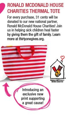 New Thirty-One GIVES partner is Ronald McDonald House Charities!   Spring 2014 www.mythirtyone.com/31diva