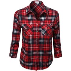 Awesome21 Women's Flannel Plaid Checker Rolled up Shirts Blouse Top ($37) ❤ liked on Polyvore featuring tops, blouses, plaid shirt, checkered shirt, red checked shirt, flannel shirt and tartan plaid shirt