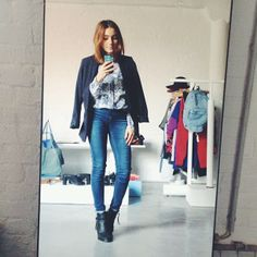 via madametamtaaam - #tgif OOTD with greetings from the office #zara blouse #topshop leigh jeans #h&m blazer #bianco boots #tiredface