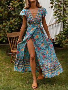 RQOKIA Floral Maxi Dress 2019 new fashion V-neck Vintage Boho beach dress pleated Hem summer casual vestidos Maxi Shirt Dress, Maxi Wrap Dress, Maxi Dress With Sleeves, Short Sleeve Dresses, Short Sleeves, Long Dresses, Long Sleeve, Dresses Dresses, Half Sleeves