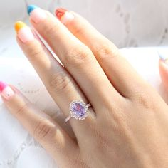 Large Lavender Sapphire Engagement Ring in 14k Rose Gold Luna Halo Ring, Size 6.25 | La More Design Stacked Wedding Rings, Matching Wedding Rings, Curved Wedding Band, Wedding Bands, Diamond Ring Settings, Traditional Engagement Rings, Purple Sapphire, Alternative Engagement Rings, More