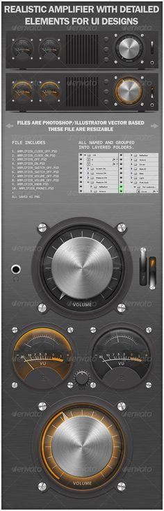 Realistic Amplifier with Detailed Elements for UI