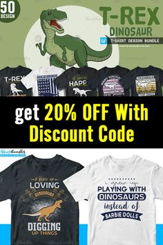 This bundle contains 50 premium designs in vector format that are perfect for t-shirts, hoodies, mugs, and flyers too. With completely editable and pixel-perfect vector files you can adapt these t-shirt designs to any size. Here is 20% off discount code: btd20off T Shirt Design Template, Vector Format, T Rex, Flyers, Design Bundles, Funny Tshirts, 50th, Shirt Designs, Coding