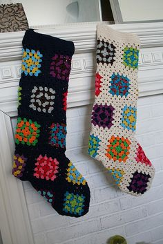 granny square stockings - wow these are so cool! - can't wait to make some to hang up for Santa.....