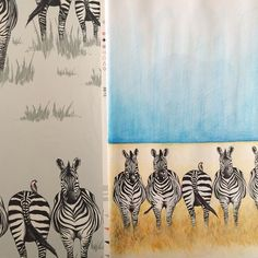 Sketchbook to reality..... Our Dazzle design started off as a watercolour paint, pen and pencil drawings and soon turned into a fun yet sophisticated #wallpaper design. #wallcoverings #zebras #zebrawallpaper #childrensbedroom #homedecor #interiors #inspiration #interiordesign #safari #africa #animals #wildlife #juliettraverswallpaper