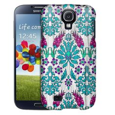 Samsung Galaxy S4 Teal Painted Forest on Wood Trans Case