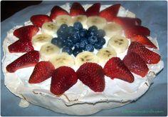 Pavlova - Great Patriotic Dessert  http://cleverhousewife.com/2012/06/patriotic-pavlova-dessert/