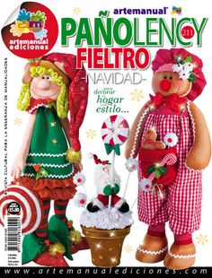 ARTEMANUAL EDICIONES - REVISTA CULTURAL PARA LA ENSEÑANZA DE LAS MANUALIDADES - Christmas Is Coming, Christmas Home, Christmas Crafts, Christmas Decorations, Christmas Ornaments, Holiday Decor, Book Crafts, Decor Crafts, Diy Crafts