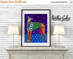 40% off- Greyhound art dog Poster Print of painting by Heather Galler Colorful art dog Poster Print of painting by Heather Galler (HG4