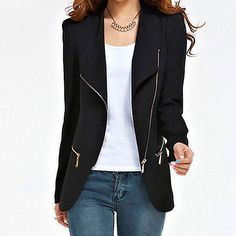 "Women""s Zipper Jacket Padded Shrug Shoulder Long Sleeve Slim Suit Blazer [JG]"