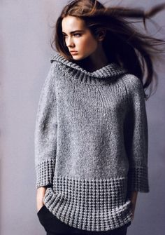Ideas knitting pullover link for 2019 Winter Sweaters, Sweaters For Women, Sweater Coats, Grey Sweater, How To Purl Knit, Knit Fashion, Knit Or Crochet, Ravelry Crochet, Pulls