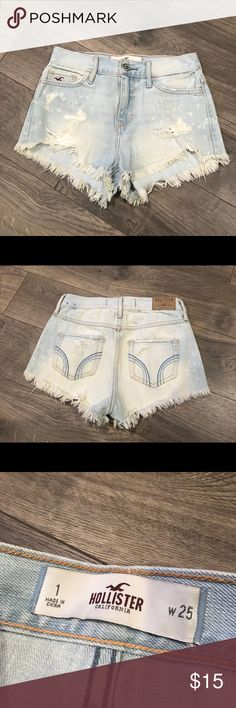 Hollister women's distressed shorts Hollister women's distressed shorts  Light blue paint splatter look Size 25 No stains or rips  Length 12 U6 Hollister Shorts Jean Shorts