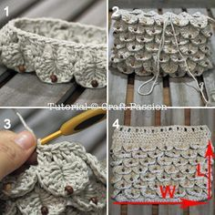 Free pattern for crocodile stitch purse with or without beads.  Worked in the round