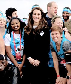 Catherine, Duchess of Cambridge and Prince William, Duke of Cambridge meet Heads Together runners in the Blue Start area as they prepare for the 2017 Virgin Money London Marathon in London, England. || 23.4.2017