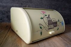 1950's Ransburg metal bread box  pale yellow by 720vintage on Etsy