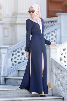 200e3b3d4dc56 Nayla Collection - Pudra   Lacivert Tulum Astuce Hijab, Robe Hijab, Robe En  Pagne