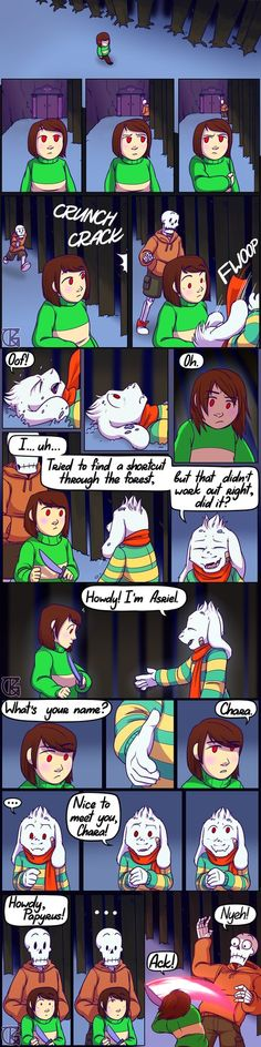 Asriel and Chara's First Meeting by TheGrinningKitten
