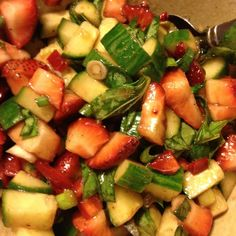 Strawberry Basil Salsa — Jennifer Cantwell's Food For Thought Clean Eating Hummus, Dairy Free, Gluten Free, Recipe Using, Food For Thought, Fruit Salad, Basil, Sauces, Salsa