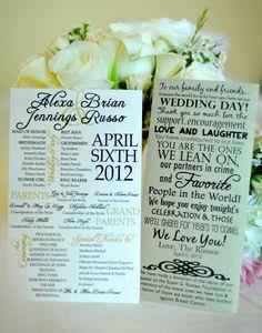Vintage Chic Wedding Program. via Etsy.