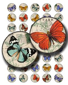 butterflies  1 inch circles instant download digital by 300dpi, $4.00