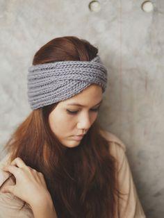 Tejen cinta turbante gris 100 lana cabeza caliente por RumraisinA