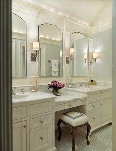 images of bathroom vanity with knee space | Nice! Split level double vanity with knee space..