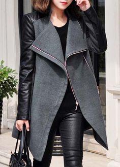 PU Patch work Design Winter Coat in Black and Grey