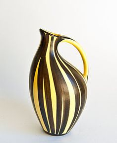 Modernist Retro West German Vase - Ilkra Cairo - 1950s Black and Yellow  SOLD @ 43