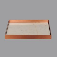 Copper Square Contemporary Tray with Marble Insert