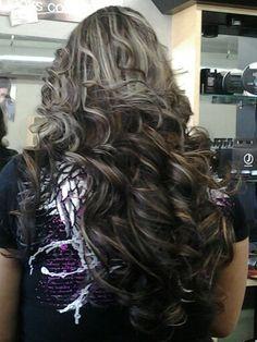 Dark hair with blonde hilights