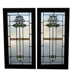 Pair Of Arts & Crafts Windows - Wooden Nickel Antiques Antique Stained Glass Windows, Hanging Stained Glass, Floral Design, Arts And Crafts, Selling Antiques, Beveled Glass, 30 Years, Tiffany, Glass Art