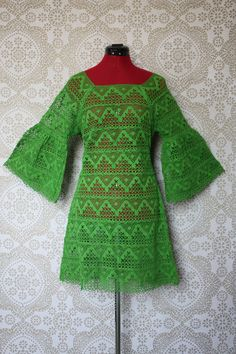 Vintage 1960's 1970's Lime Green Crochet Lace Mini Dress with Bell Sleeves M/L. $85.00, via Etsy.