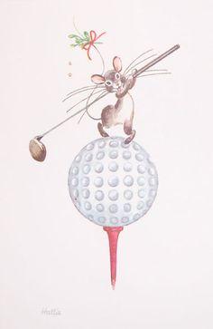 Kristin Elliott Golfing Mouse  #golf #holidays