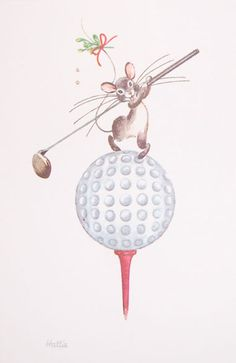 Give your loved ones Kristin Elliott Golfing Mouse Holiday Card & make them feel they are remembered! #golf #holidays #christmas #golfers #holidaycards #lorisgolfshoppe