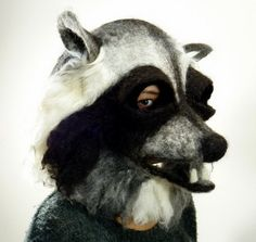 Hand felted Raccoon animal mask / head dress suitable for performace, dance or theatre