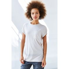 BDG Rolled Sleeve Unisex Tee ($24) ❤ liked on Polyvore featuring tops, t-shirts, cream, cream t shirt, slouch tee, unisex t shirts, slouchy tee and loose fitting tops