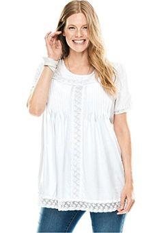 ed7df743c46 Women s Plus Size Lace Trim Pintucked Tunic Plus Size Shorts