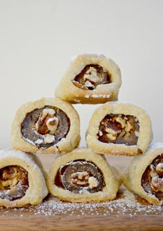 vegan GF date and cream cheese roll ups stuffed with pecans
