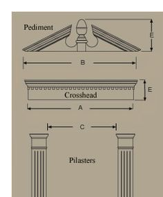 Fypon door window crosshead pediment header molded for Exterior door pediment and pilasters