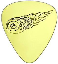 "Unique & Custom [0.38mm Thin Gauge - Traditional Style Semi Tip] Hard Luxury Guitar Pick Made of Genuine Solid Brass w/ Flaming Fire 8 Ball Billiard Asteroid Design ""Gold Yellow Colored"" {Single Pick} mySimple Products"