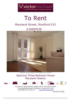 A beautifully decorated three bedroom maisonette for rent in the heart of Stratford, for more info visit www.victormichael.com