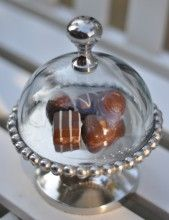 Small Beaded Edge Cake Stand With Domed Lid for chocolates or other individuals.  Love this!
