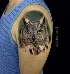 Realistic Owl Shoulder Tattoo