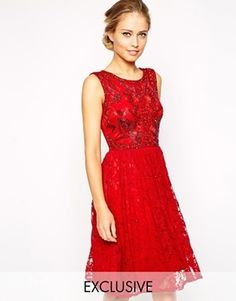 Frock and Frill Sleeveless Lace Skater Dress with Embellishment - Red lace/irredescent on shopstyle.com
