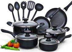 Cookware Set Pots Kitchen Home 15 Piece Non stick Black Soft handle Chef Pans #CookNHome