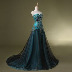 Damen Prinzessin gefrorene Kleid Peacock Prom von FelhyssaGown